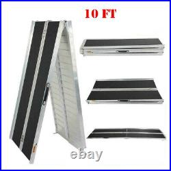 10ft Aluminum Folding Wheelchair Ramp Mobility Scooter Non-Slip Home Car BS