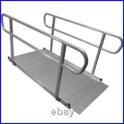 1.8m Aluminium Wheelchair Entry Ramp & Handrails Surface Scooter Mobility Access