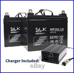2 (12v) 33AH SLK POWER MOBILITY SCOOTER WHEELCHAIR AGM BATTERIES & CHARGER