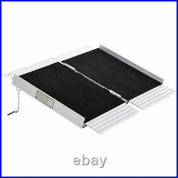 2' Portable Wheelchair Ramp Aluminum Threshold Mobility Single-fold for Scooter