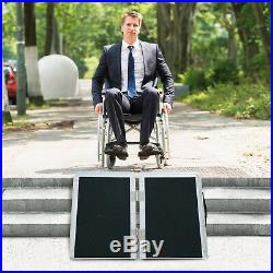 2ft Bi-Fold Wheelchair Ramp Scooter Mobility Non-skid Portable Aluminum