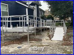 32 Aluminum Wheelchair Entry Ramp & Handrails Surface Scooter Mobility Access