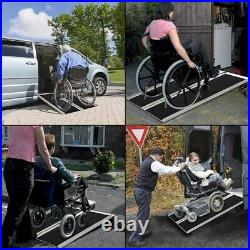 3FT Aluminum Folding Wheelchair Ramp Non-skid 4Wheeled Mobility Scooter Stable