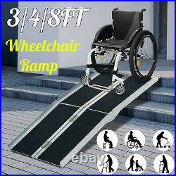 3/4/8FT Folding Aluminum Wheelchair Ramp Portable Mobility Scooter Carrier