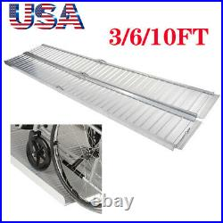 3/6/10FT Portable Wheelchair Ramp Mobility Scooter Home Car Threshold Folding
