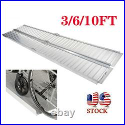 3/6/10ft Folding Wheelchair Ramp Threshold Scooter Mobility Handicap Ramp Alloy