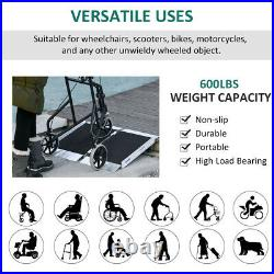 3' Portable Wheelchair Ramp Aluminum Threshold Mobility Single-fold for Scooter