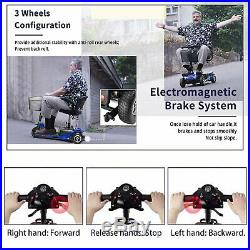 3 Wheels Mobility Scooter Electric Powered Wheelchair Device Travel, Blue