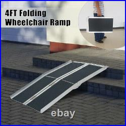 4FT Folding Aluminum Wheelchair Ramp Portable Mobility Scooter Non-Slip 600LBS