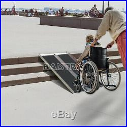 4' Black Portable Aluminum Mobility Wheelchair Scooter Ramp Anti-slip Foldable
