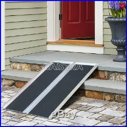4' Multifold Wheelchair Ramp Mobility Scooter Carrier Portable Aluminum Non-skid