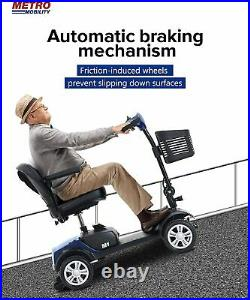 4 Wheel Mobility Scooter Electric Powered Wheelchair Device 265lbs Weight Blue