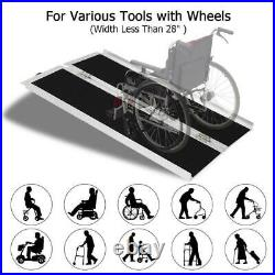 4ft Folding Aluminum Wheelchair Ramp Portable Mobility Scooter No-Slip Carrier