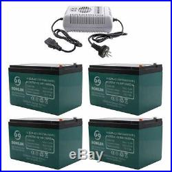 4x 12AH 6-DZM-12 Battery Electric Mobility Scooter Wheelchair Goft Cart +Charger