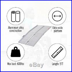 5FT Aluminum Foldable Wheelchair Ramp Scooter Mobility With Carry Handle