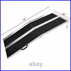 6FT Wheelchair Ramp Aluminum Folding Non-skid 4Wheeled Mobility Scooter Stable