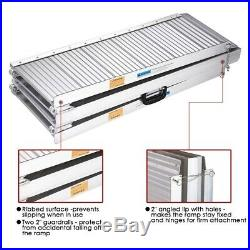 6/8ft Folding Aluminum Wheelchair Ramp Portable Mobility Scooter No-Slip Carrier