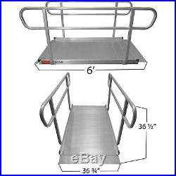 6' Aluminum Wheelchair Entry Ramp & Handrails Surface Scooter Mobility Access