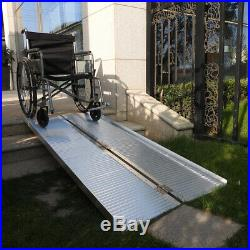 6' Folding Portable Mobility Wheelchair Scooter Handicap Threshold Aluminum