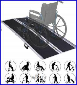 6' Portable Folding Aluminum Wheelchair Ramp Mobility Scooter With Carrying Handle
