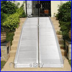 7' Aluminum Fold Portable Wheelchair Ramp Mobility Non-slip Scooter Carrier