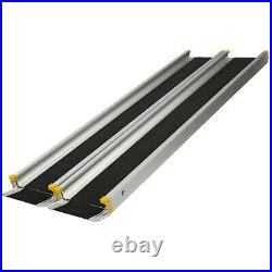 7' Telescoping Ramps Aluminum Loading Pet Wheelchair Thresholds Mobility Scooter