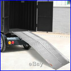 7' ft Aluminum Folding Wheelchair Scooter Mobility Ramp Portable Non-Slip Sliver