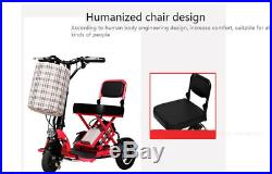 Foldable Electric Scooter 3 Wheel Folding Portable Travel Home Mobility Elderly