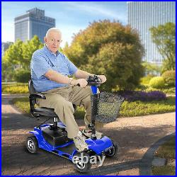 Folding 4 wheel mobility scooter electric powered wheelchair for travel Blue US