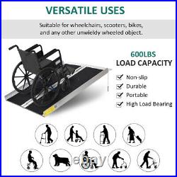 Folding Aluminum Wheelchair Ramp Portable Mobility Scooter Carrier, 600lbs