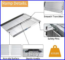 Folding Aluminum Wheelchair Ramp Scooter Mobility Ramp Suitcase Handle