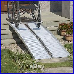 HOMCOM 6' Folding Aluminum Ramp Mobility Wheelchair Scooter Threshold Portable