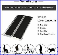 Livebest 4Ft Folding Wheelchair Ramp Doorways Carrier Threshold Mobility Scooter