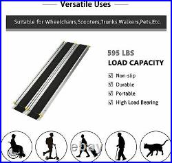 Luckyermore 7' Wheelchair Ramp Telescoping Portable Threashold Mobility Scooters