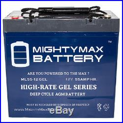 Mighty Max 12V 55AH GEL Scooter Wheelchair Mobility Deep Cycle Battery
