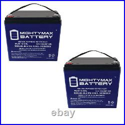Mighty Max 2 Pack 12V 55AH GEL Scooter Wheelchair Mobility Deep Cycle Battery