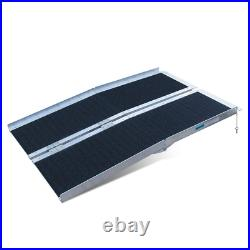 Non-Skid Traction Folding Aluminum Wheelchair Ramp Scooter Mobility Handicap Ram