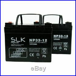 TWO 12v 33AH DEEP CYCLE MOBILITY SCOOTER WHEELCHAIR AGM/GEL MOBILITY BATTERIES
