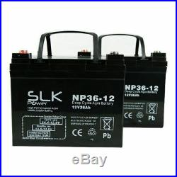 Two 12v 36ah Deep Cycle Mobility Scooter Wheelchair Batteries Replace 33 35amp