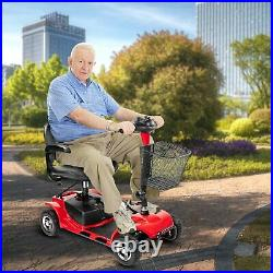 US folding 4 wheel electric powered mobility scooter wheelchair for adults red