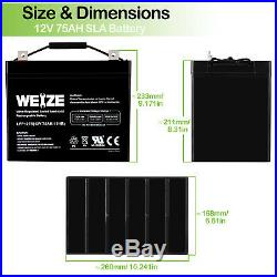 Weize 12V 75AH Sealed AGM Battery For Mobility Scooter Permobil C500 Wheelchair