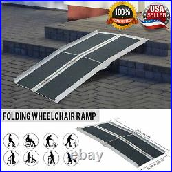 Wheelchair Ramp Portable Mobility Threshold Aluminum Scooter Folding Home Door